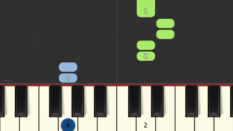 A screenshot from Synthesia. Playing Twinkle, Twinkle, Little Star.