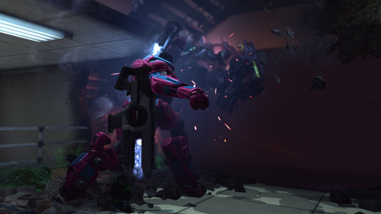 A pink and purple MEC trooper punches a Mectoid.