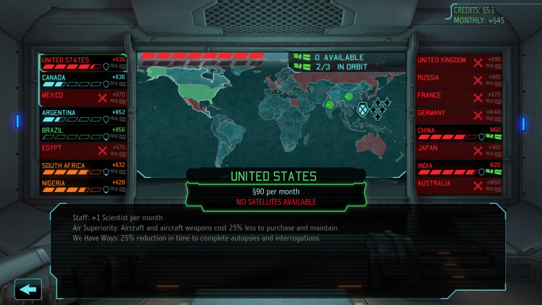XCOM Situation Room, with many countries having left the project.