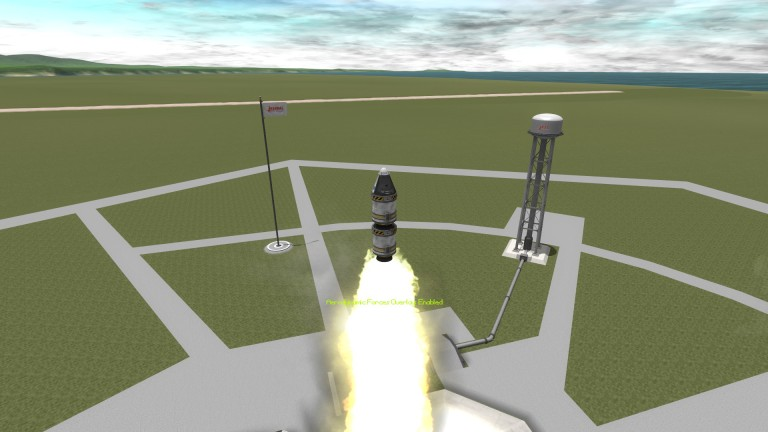 A small rocket, with a capsule and two small engines, launches from the Kerbal space cetner.