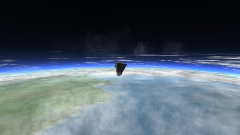 A small capsule inverts as it begins its descent back to Kerbin.