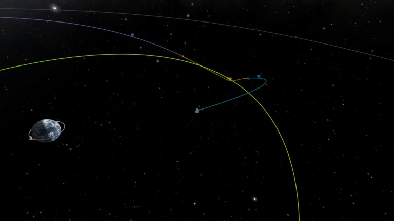 A Mun encounter in Kerbal's tracking center.