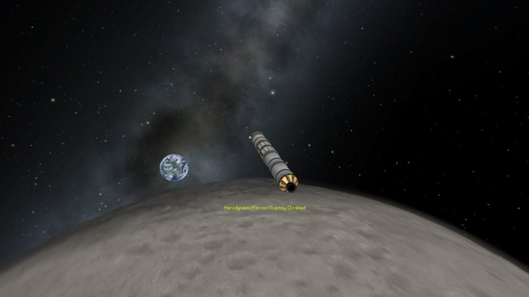 The Confusador rocket orbits the Mun, with Kerbin rising in the background.